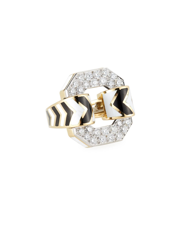 18k Chevron Enamel Ring w/ Diamonds