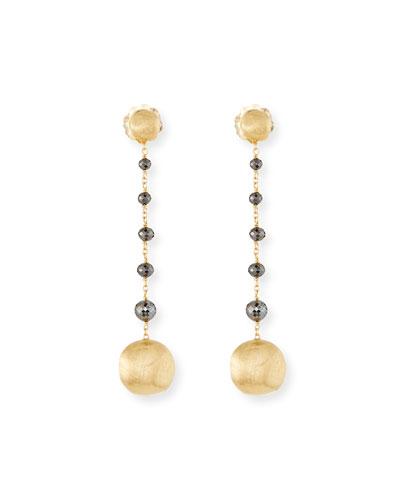 18k Africa Raw Black Diamond Drop Earrings