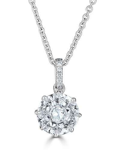 18k Mosaic Round Diamond Pendant Necklace