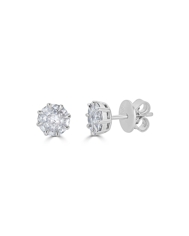ZYDO 18K MOSAIC ROUND DIAMOND STUD EARRINGS
