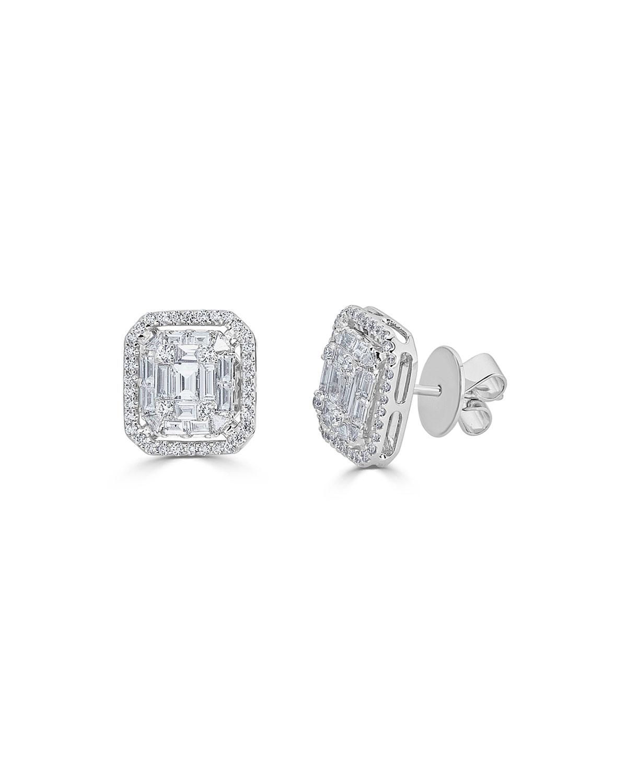 ZYDO 18K MOSAIC MIXED-CUT DIAMOND STUD EARRINGS