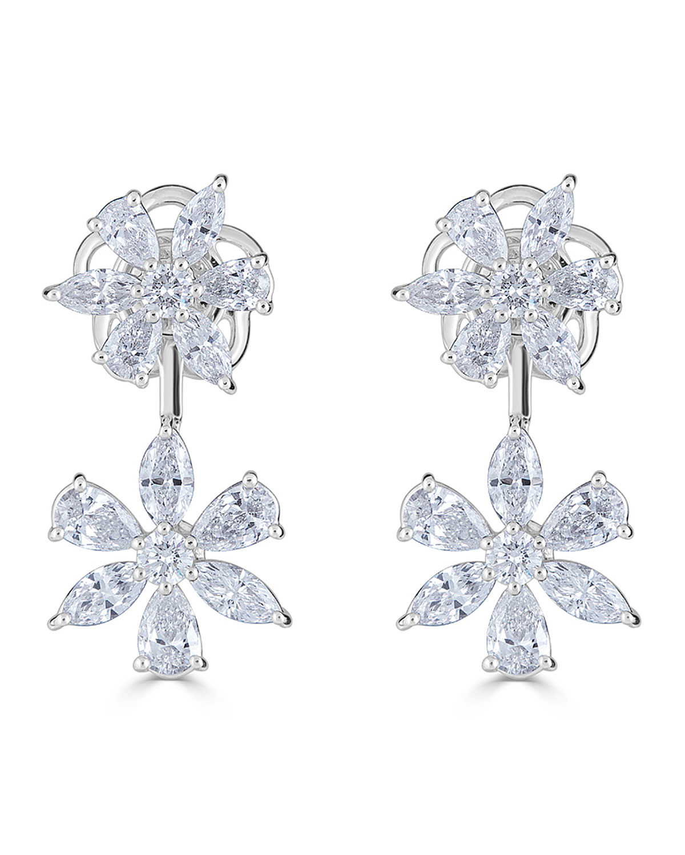 ZYDO 18K LUMINAL DIAMOND DOUBLE FLOWER EARRINGS