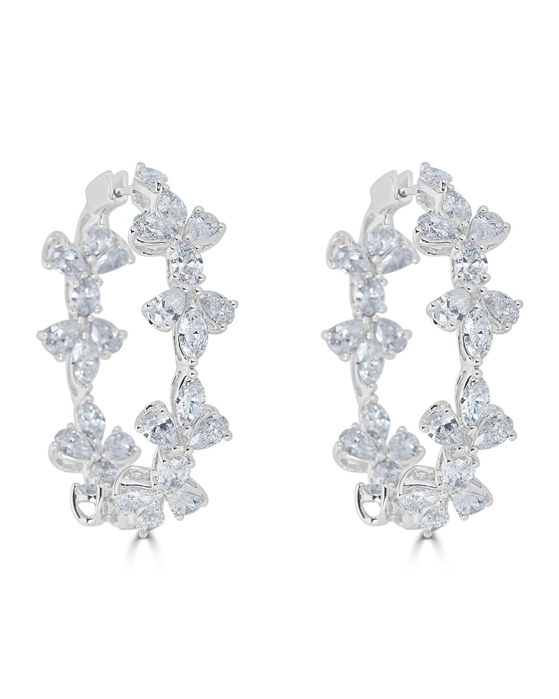 ZYDO 18K LUMINAL MIXED DIAMOND HOOP EARRINGS
