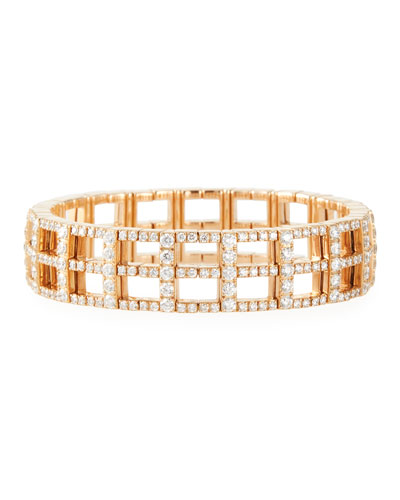 18k Rose Gold Stacked Stretch Link Bracelet w/ Diamonds