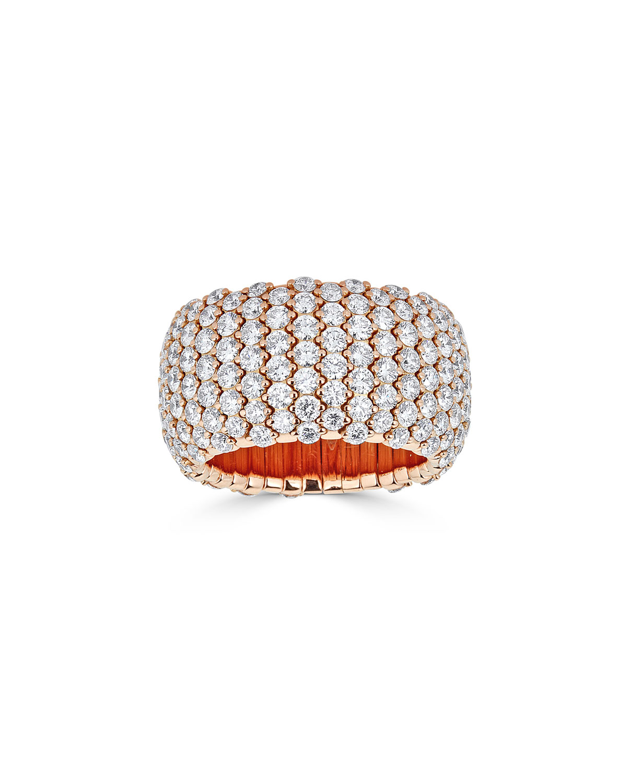 ZYDO 18K ROSE GOLD WIDE DIAMOND STRETCH RING