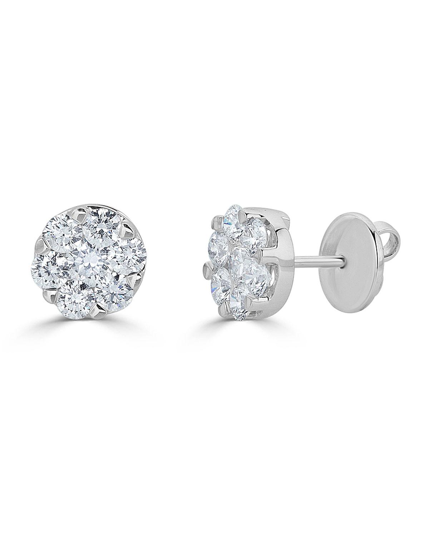 ZYDO 18K WHITE GOLD MOSAIC ROUND DIAMOND STUD EARRINGS