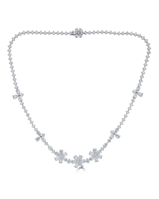 ZYDO 18K LUMINAL MIXED DIAMOND FLOWER NECKLACE