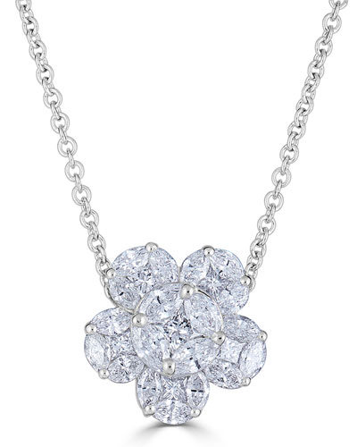 18k Mosaic Flower Diamond Pendant Necklace