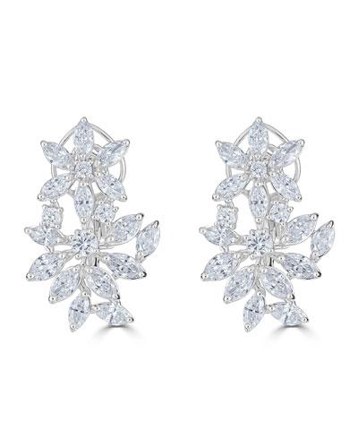 18k Luminal Diamond Flower Huggie Hoop Earrings