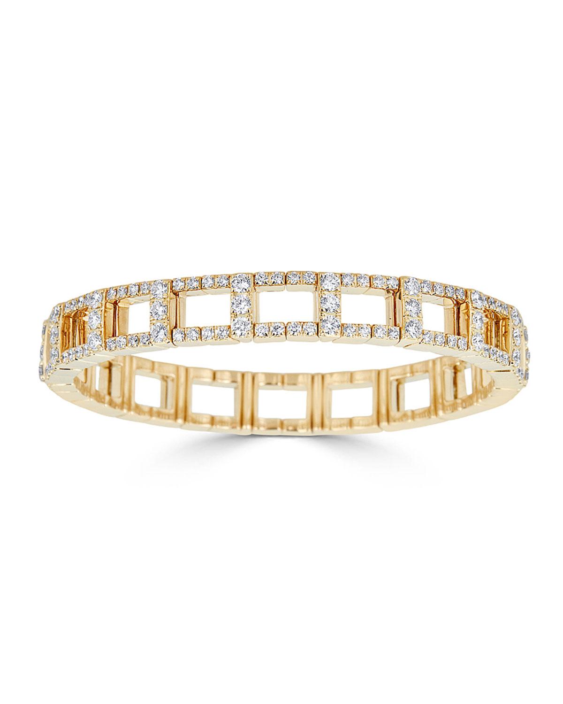 ZYDO 18K YELLOW GOLD STRETCH LINK BRACELET W/ DIAMONDS