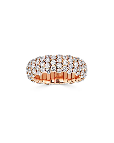 ZYDO 18k Rose Gold Diamond Stretch Ring, Size 6.5