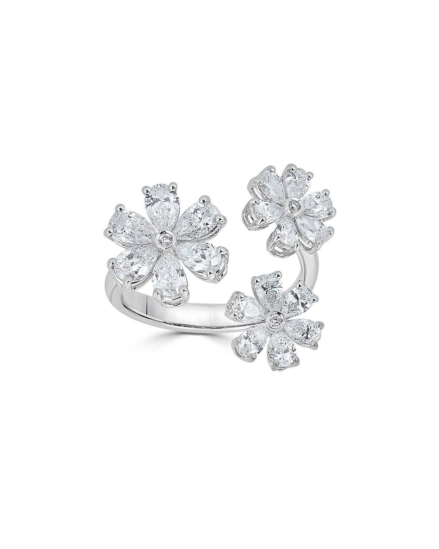 18K LUMINAL DIAMOND FLOWER OPEN RING
