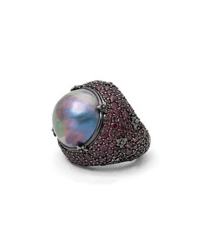 18mm Purple Pearl & Rhodolite Garnet Ring