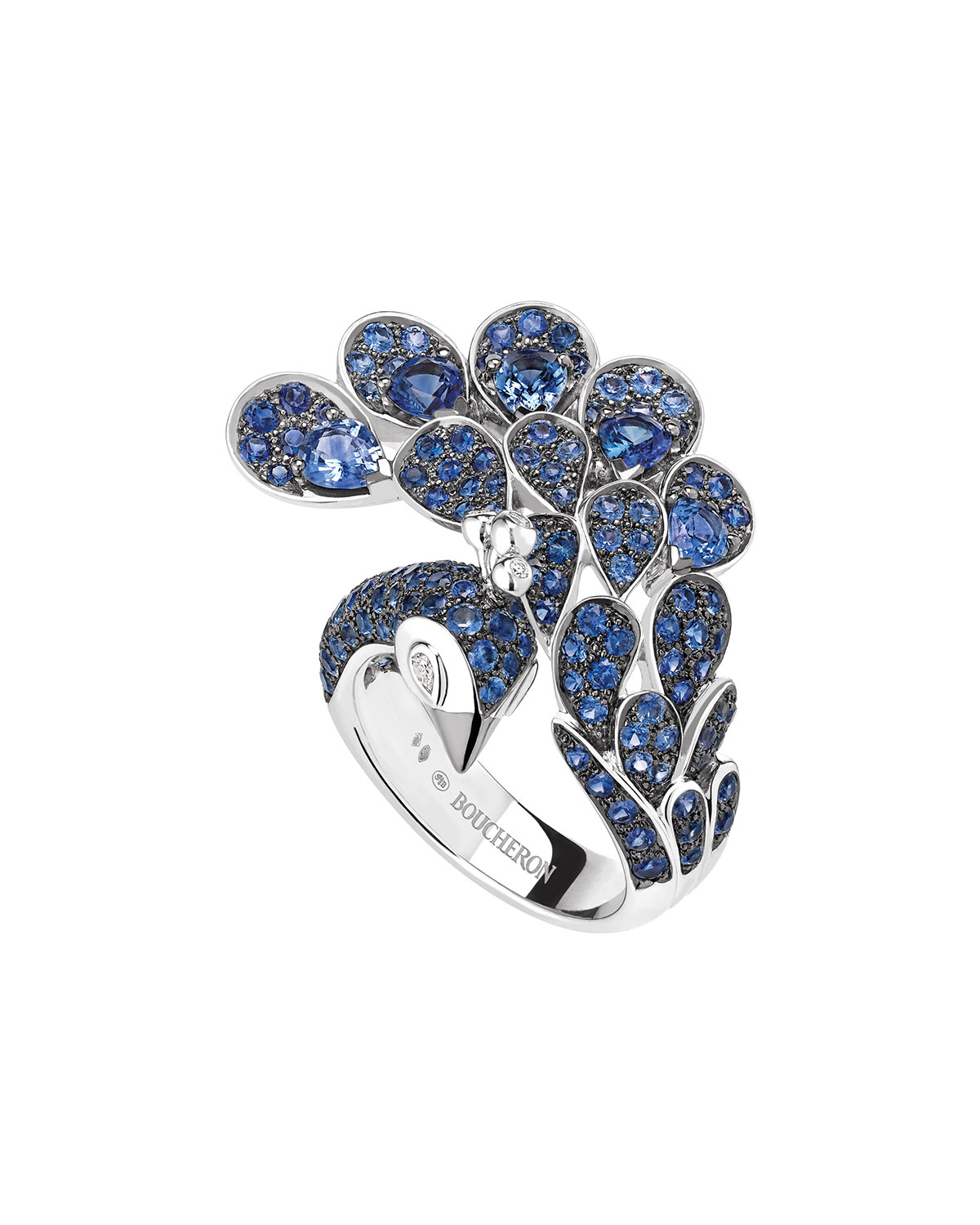 18k Sapphire Peacock Ring, Size 52