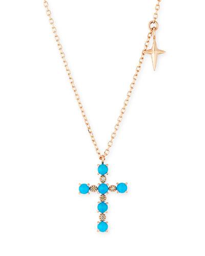 14k Turquoise & Diamond Cross Pendant Necklace