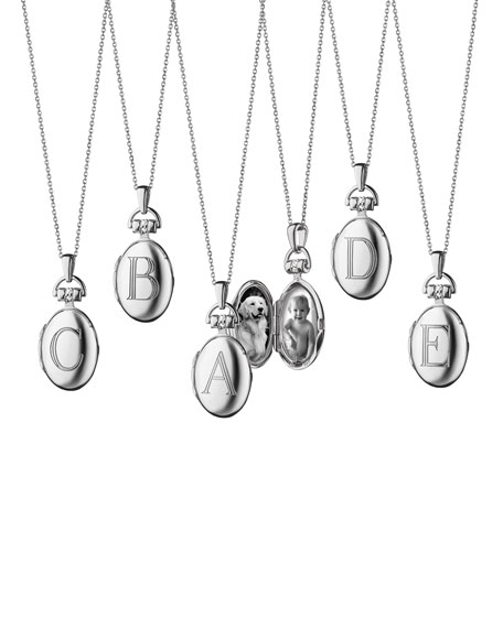 Monica Rich Kosann Petite Sterling Silver Initial Locket Necklace