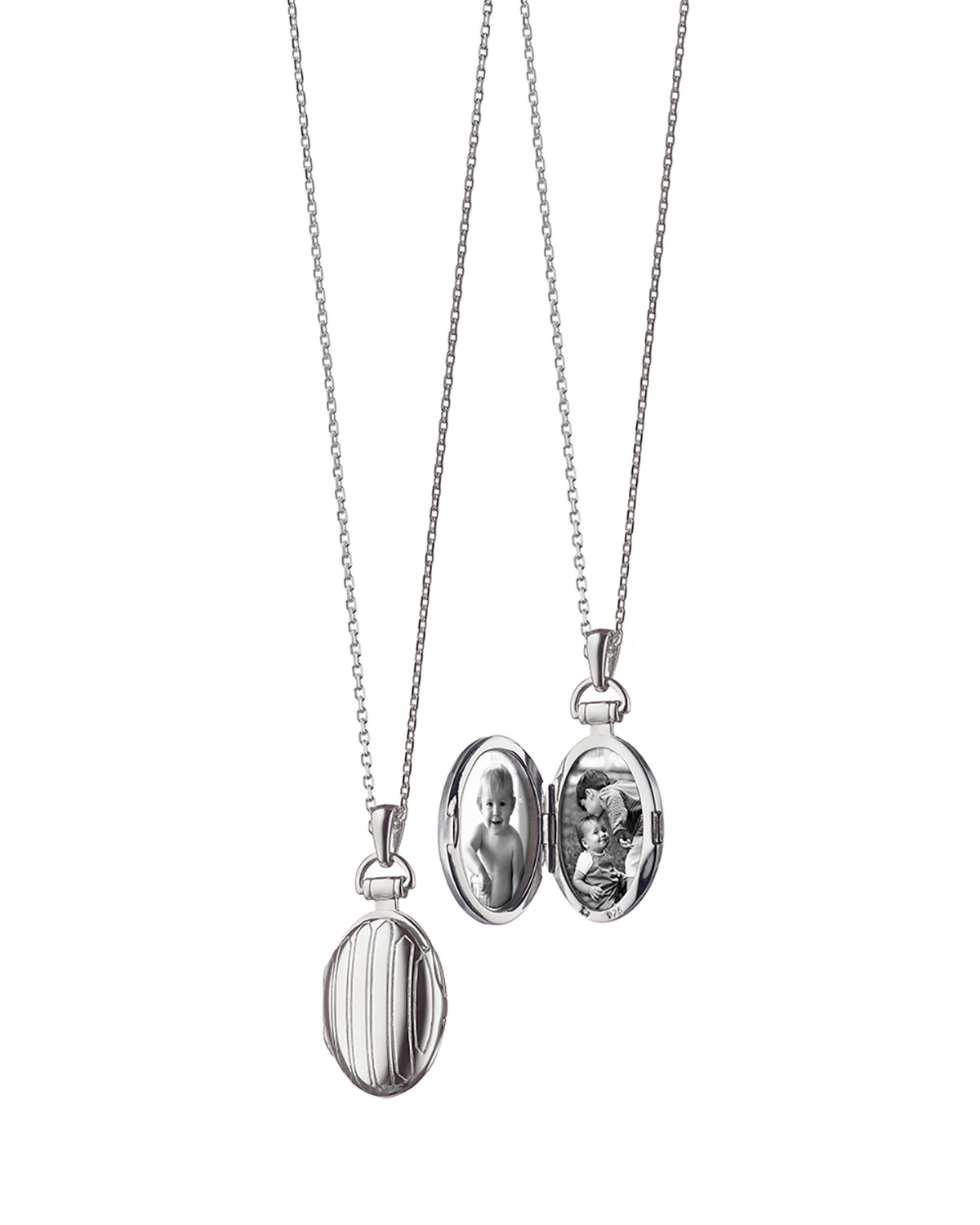 Monica Rich Kosann 3/4 Pinstriped Silver Oval Locket Necklace 7rNAPr7Qo