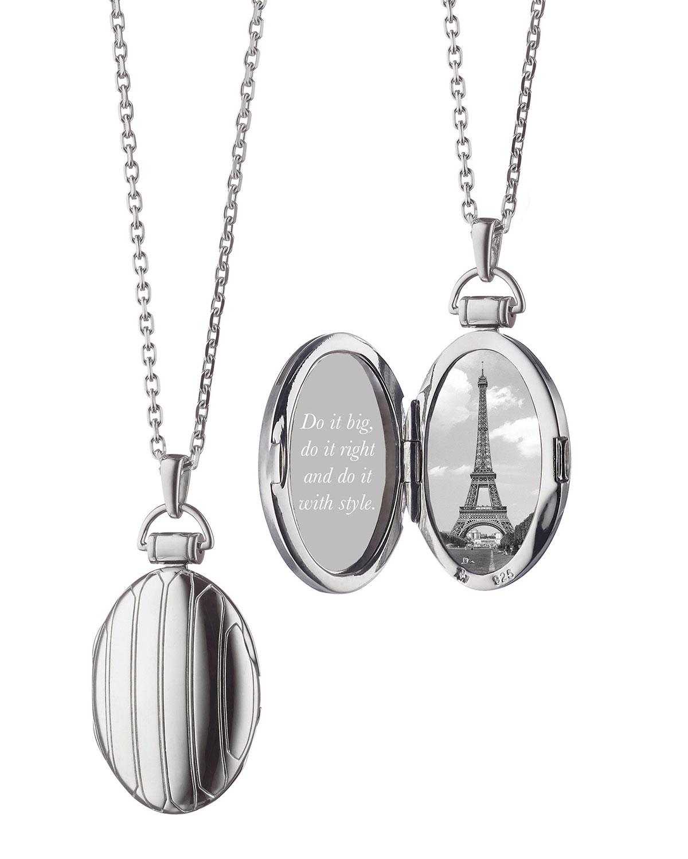 Monica Rich Kosann 1 Pinstriped Silver Oval Locket Necklace hzXhOq