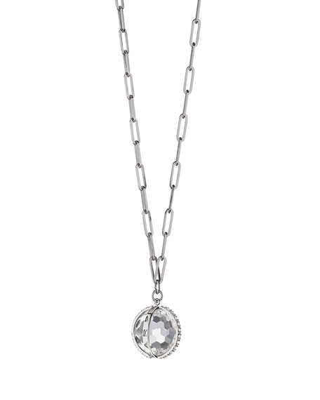 Monica Rich Kosann XL Carpe Diem White Sapphire Charm Necklace in Sterling Silver