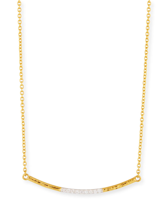 GURHAN 22K GOLD CURVED BAR NECKLACE W/ DIAMONDS