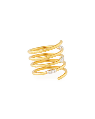 22k Gold Delicate Geo Pave Spiral Ring, Size 6.5