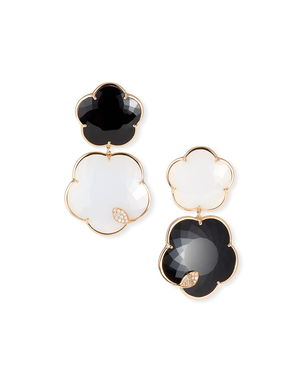 PASQUALE BRUNI Ton Joli 18K Rose Gold Black & White Earrings W/ Diamonds