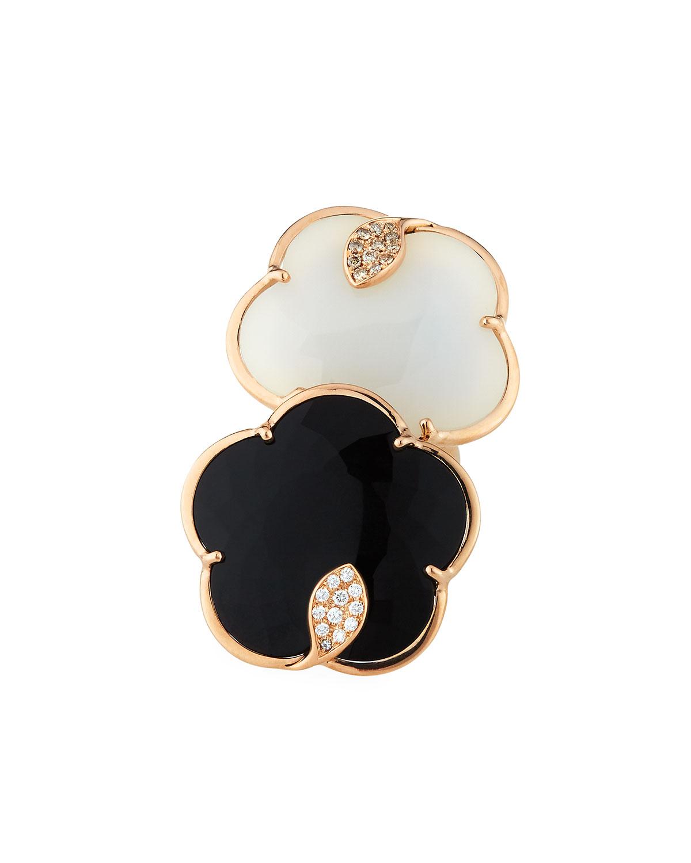 PASQUALE BRUNI Ton Joli 18K Rose Gold Black & White Ring W/ Diamonds