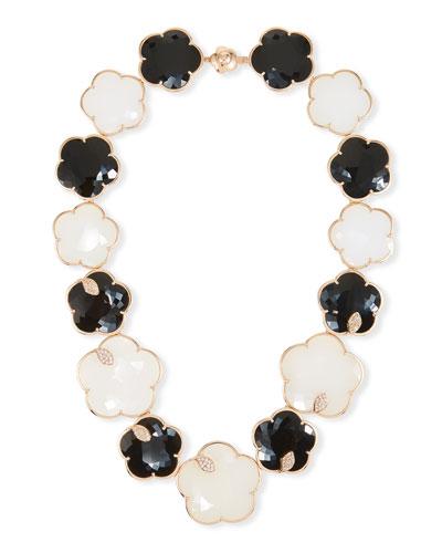 Ton Joli 18k Rose Gold Black & White Necklace w/ Diamonds