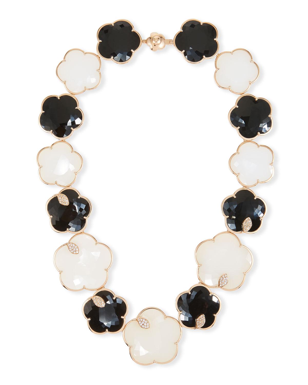 PASQUALE BRUNI Ton Joli 18K Rose Gold Black & White Necklace W/ Diamonds