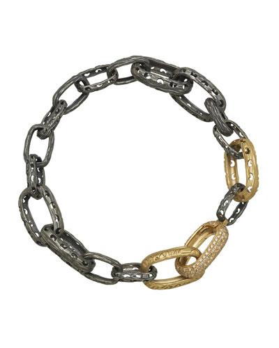Men's Warrior Two-Tone Bracelet w/ Diamonds