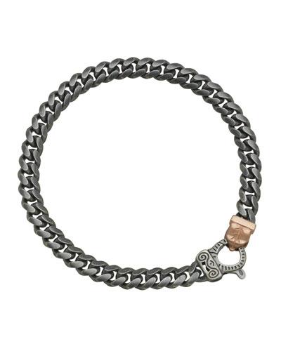Men's Flaming Tongue Oxidized Silver Chain Bracelet w/ 18k Pink Gold-Plate ...