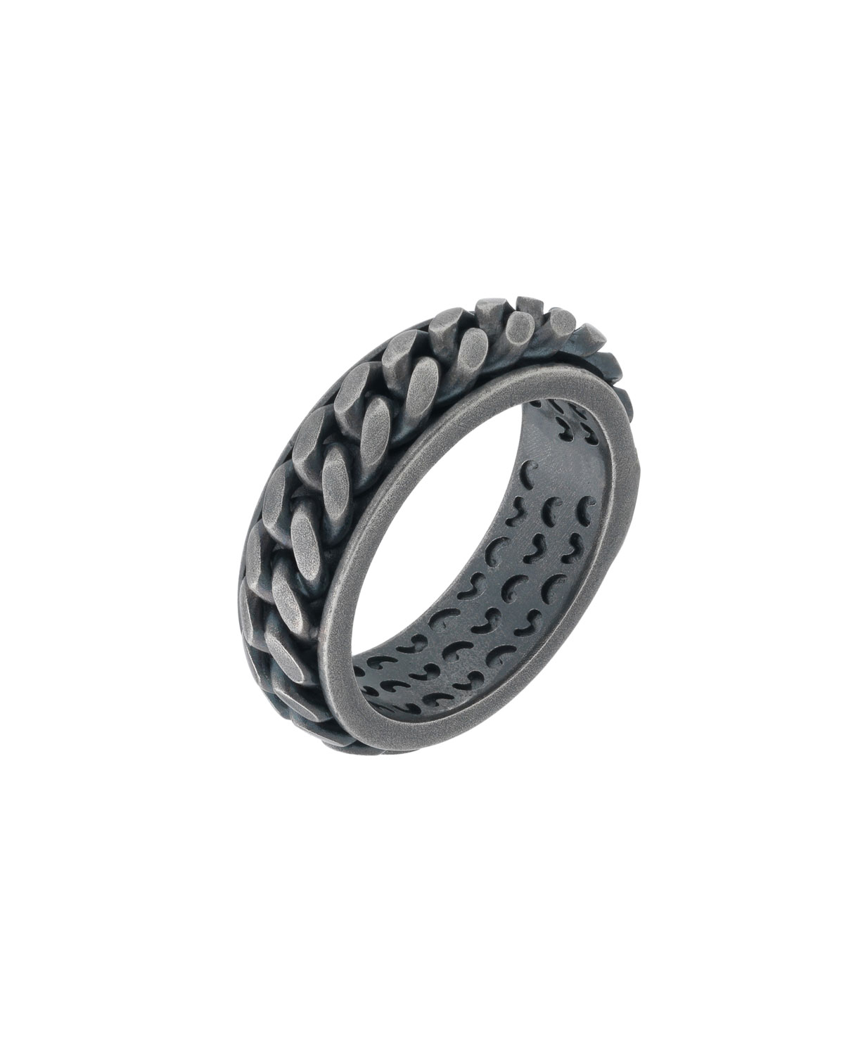MARCO DAL MASO MEN'S LASH OXIDIZED SILVER CHAIN BAND RING, SIZE 10