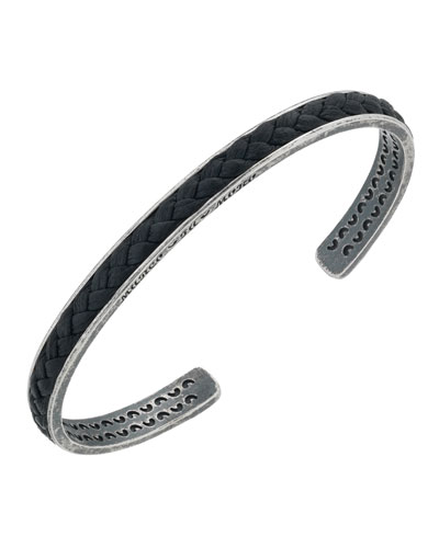 Men's Braided Leather/Silver Kick Cuff Bracelet, Black