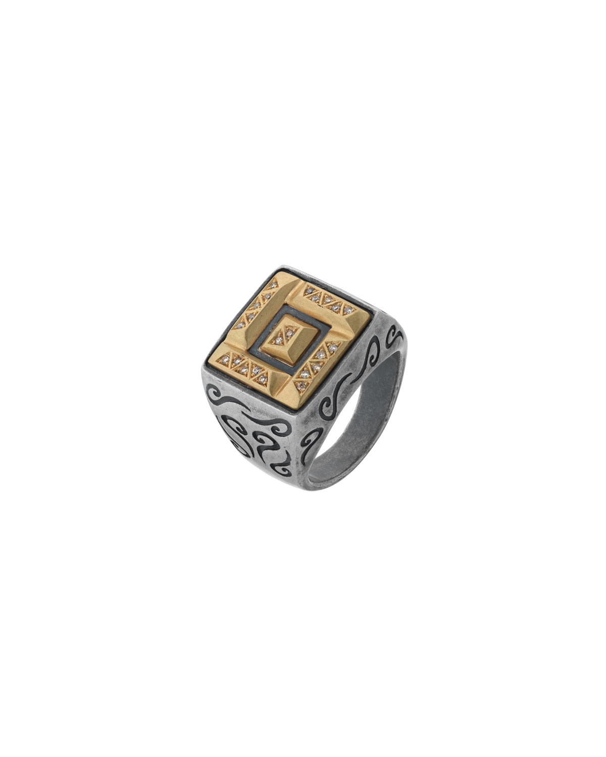 MARCO DAL MASO MEN'S ARA DOUBLE-RECTANGLE RING W/ DIAMONDS, SIZE 10