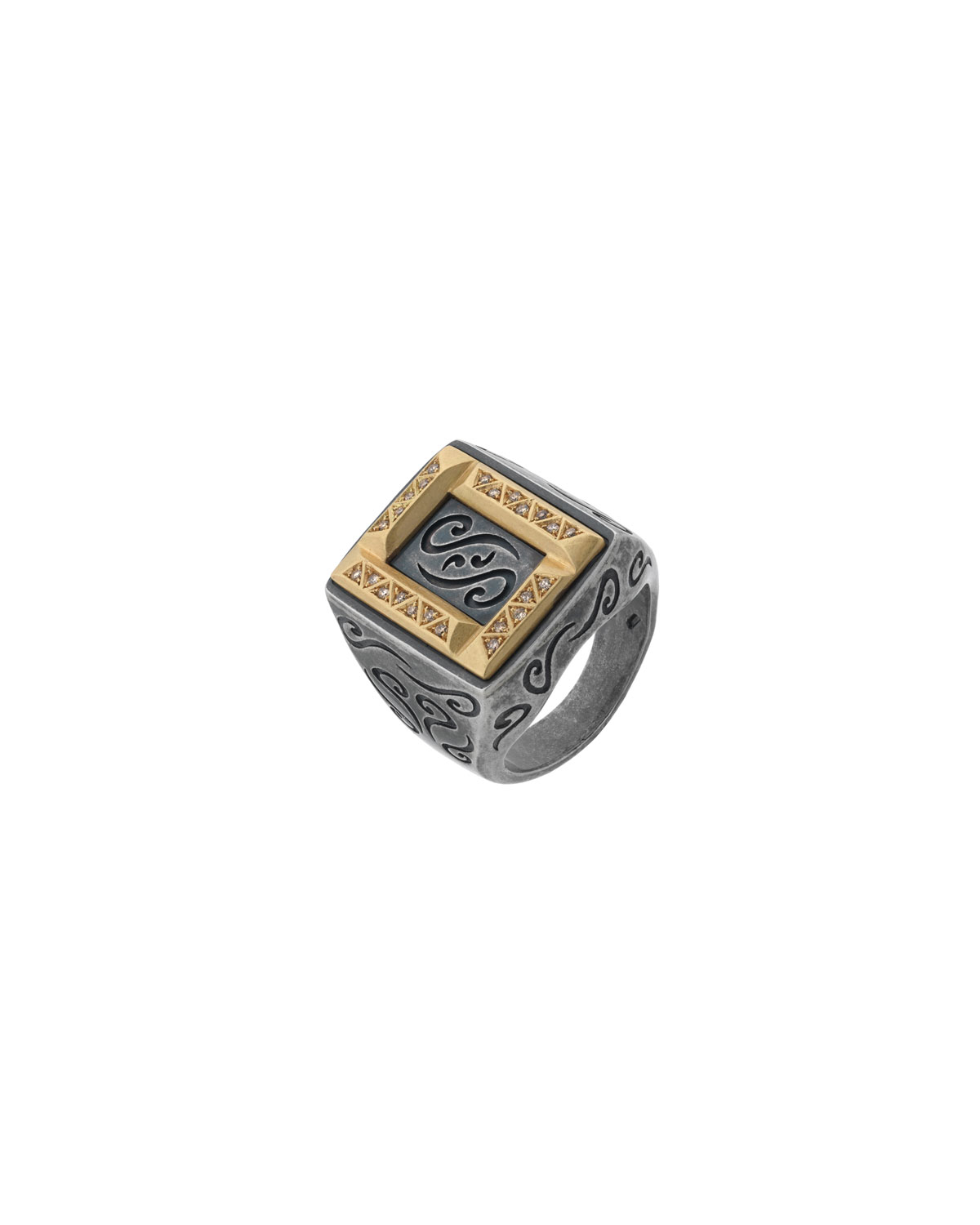 MARCO DAL MASO MEN'S ARA RECTANGULAR RING W/ DIAMONDS, SIZE 10.5