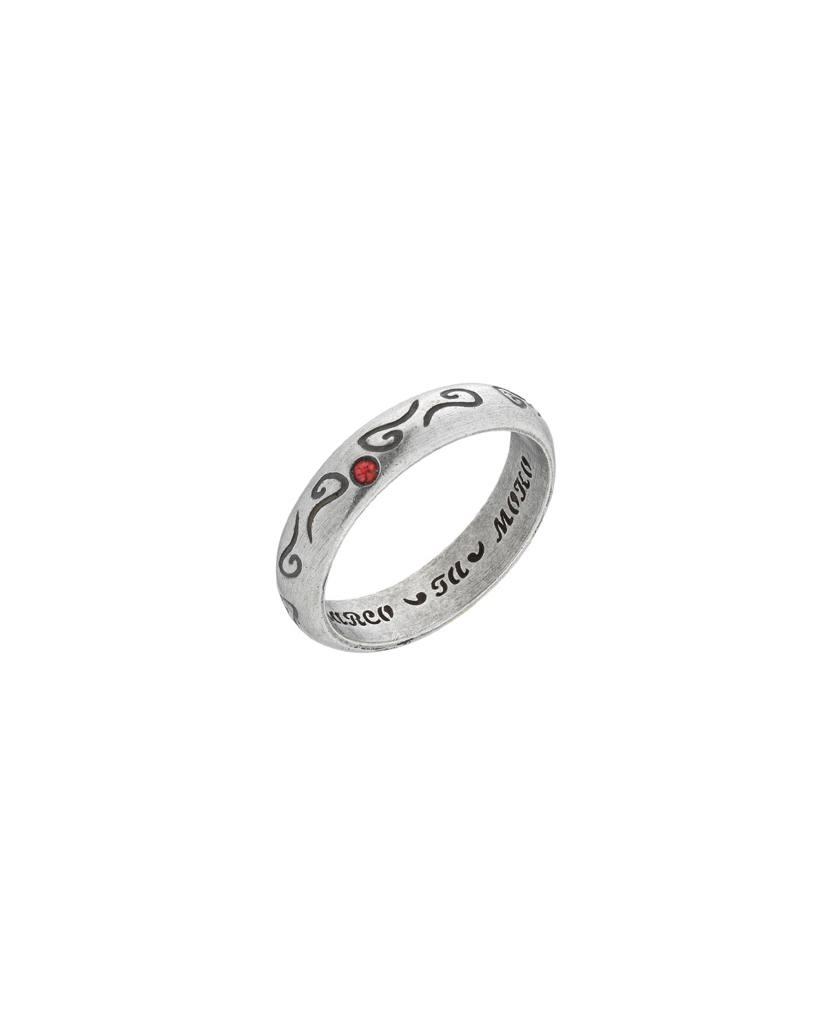 MARCO TA MOKO Men'S Silver Band Ring With Red Sapphire, Size 10
