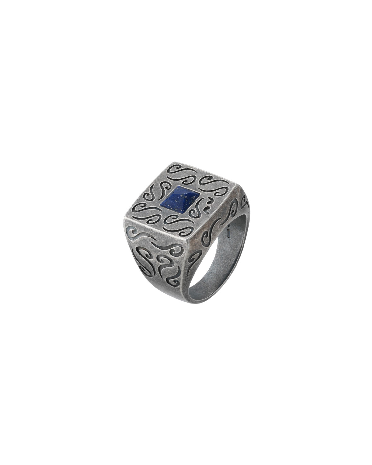 MARCO TA MOKO Men'S Oxidized Silver Ring With Lapis, Size 10
