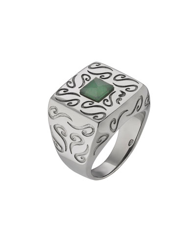 Men's Oxidized Silver Ring with Aventurine, Size 10