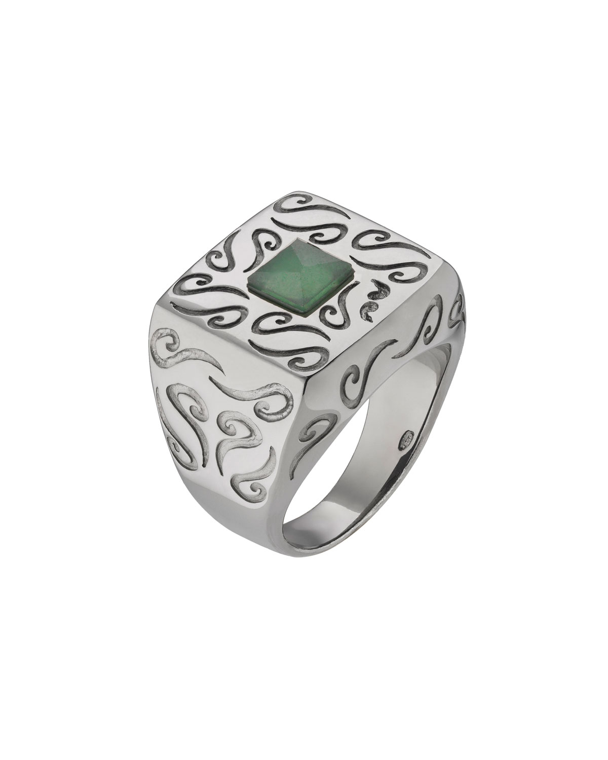 MARCO TA MOKO Men'S Oxidized Silver Ring With Aventurine, Size 10