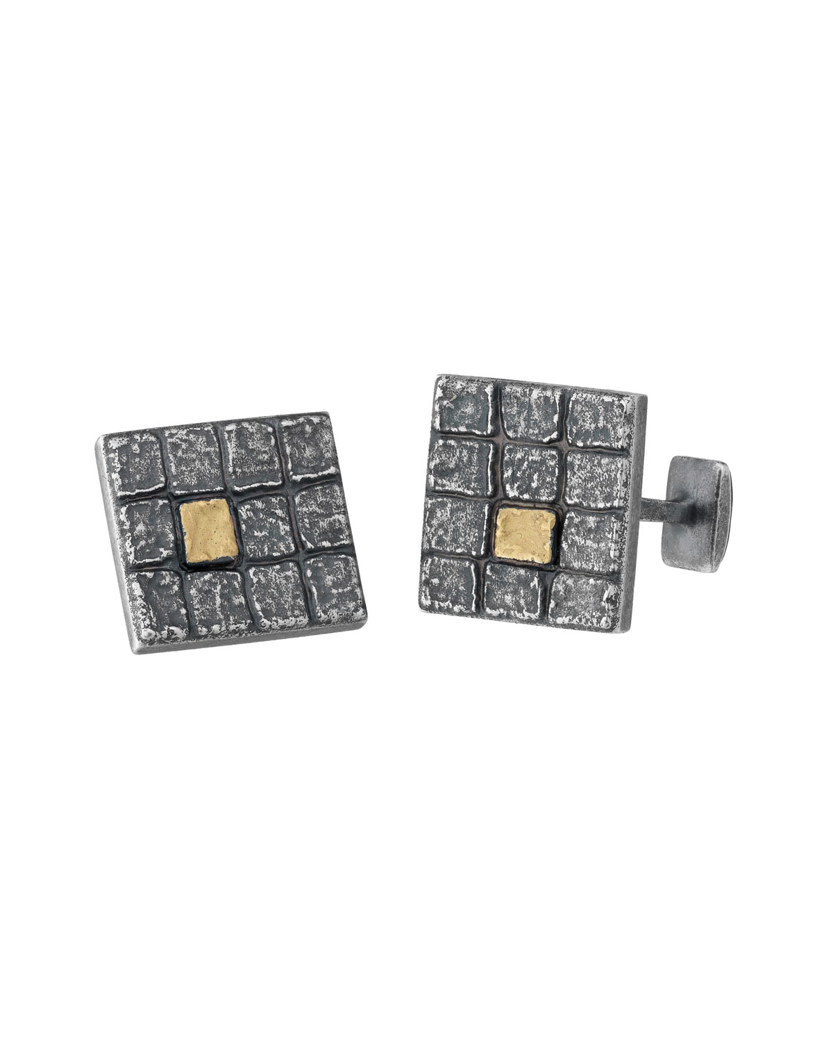 MARCO DAL MASO SQUARE OXIDIZED SILVER CUFF LINKS W/ 18K GOLD
