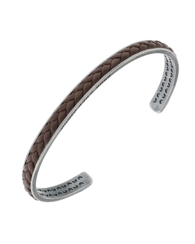 Men's Braided Leather/Silver Kick Cuff Bracelet, Brown