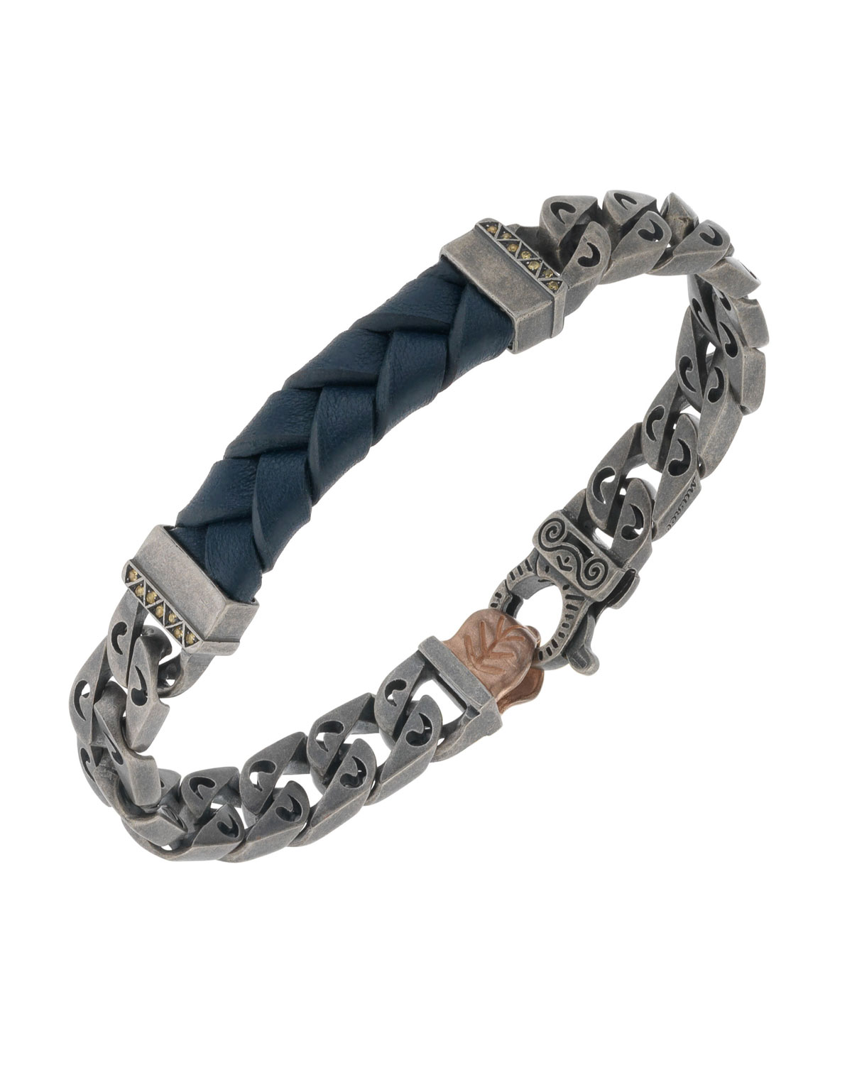 MARCO DAL MASO MEN'S WOVEN LEATHER/SILVER CHAIN BRACELET W/ 18K GOLD-PLATED CLASP, BLUE