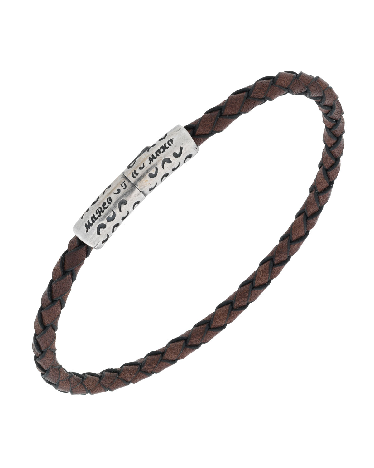 MARCO DAL MASO MEN'S THIN WOVEN LEATHER BRACELET, BROWN