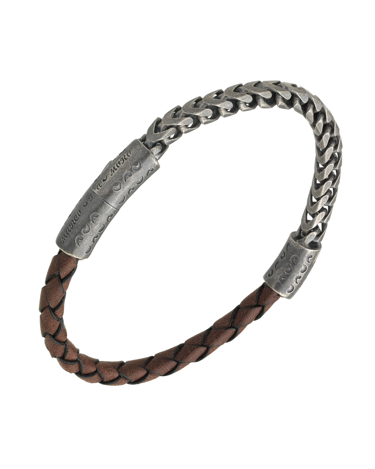 MARCO DAL MASO MEN'S STERLING SILVER & LEATHER BRACELET WITH PUSH-LOCK, BROWN