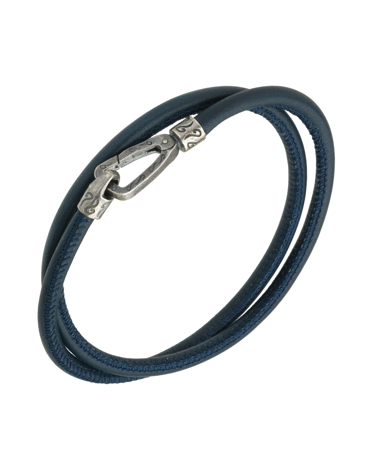 MARCO DAL MASO MEN'S LEATHER DOUBLE-WRAP BRACELET, BLUE
