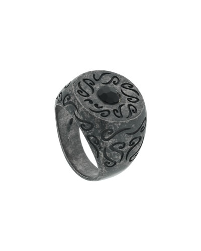 Men's Round Oxidized Silver Ring with Onyx, Size 10