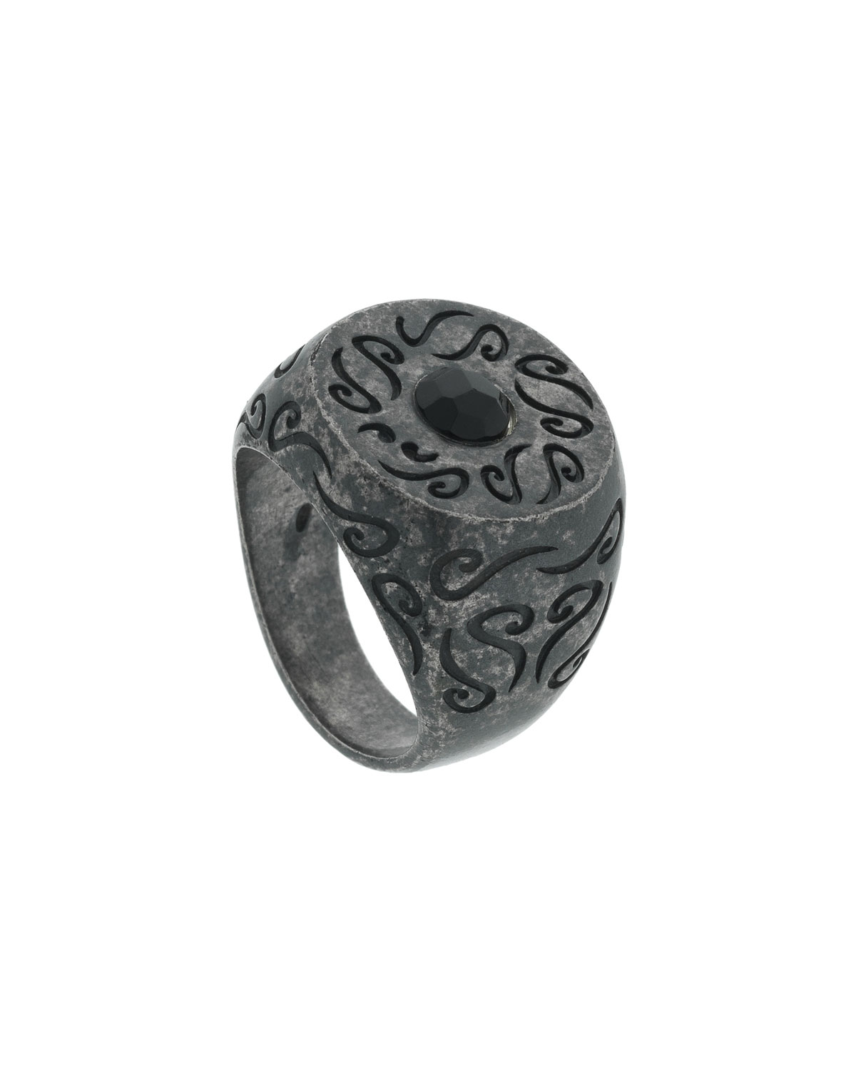 MARCO TA MOKO Men'S Round Oxidized Silver Ring With Onyx, Size 10