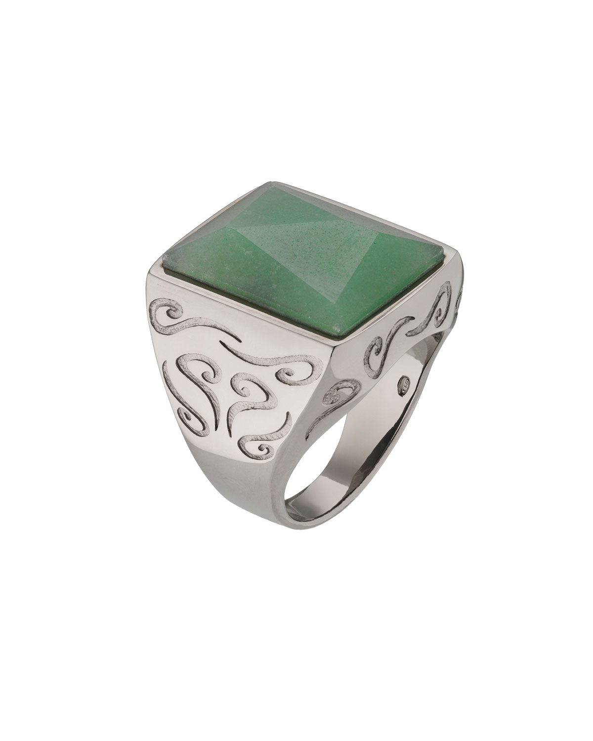 MARCO DAL MASO MEN'S ARA PYRAMID RING WITH GREEN AVENTURINE, SIZE 10