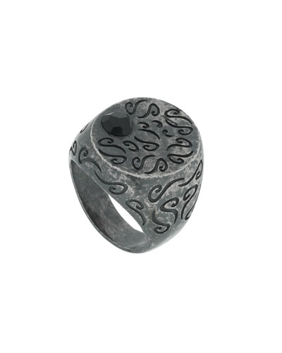 Men's Round Oxidized Silver Ring with Onyx, Size 9.5