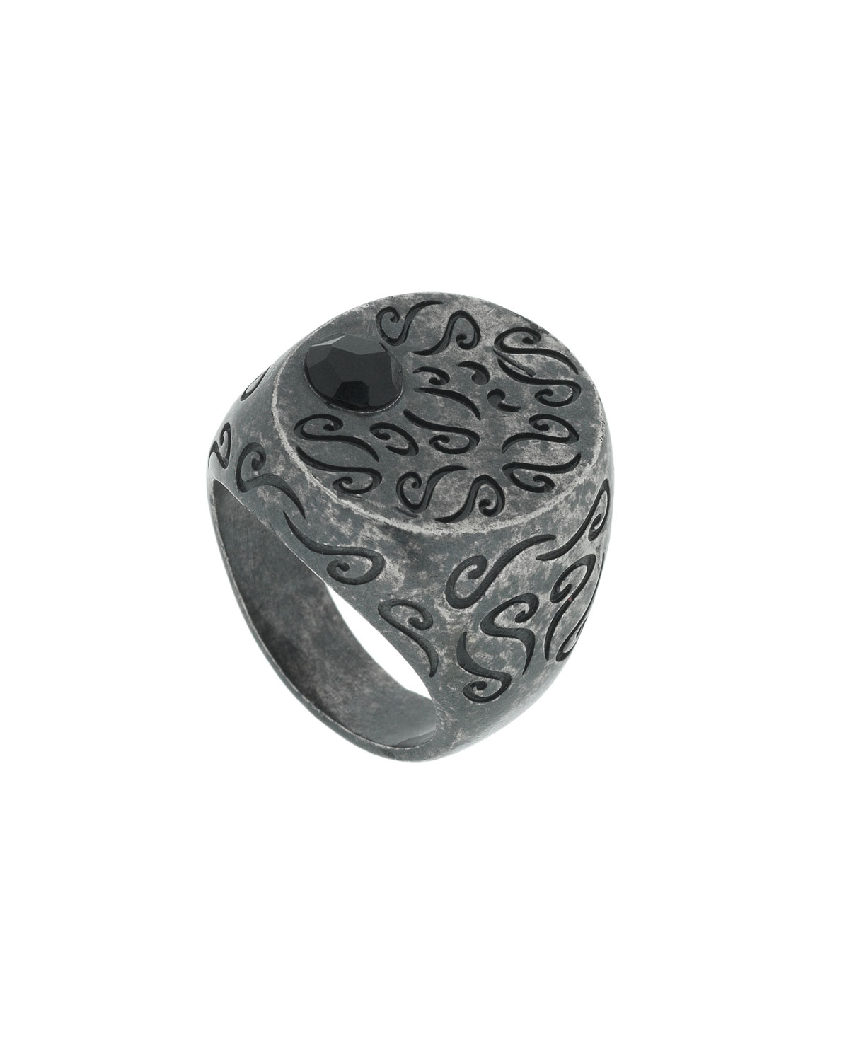 MARCO TA MOKO Men'S Round Oxidized Silver Ring With Onyx, Size 9.5